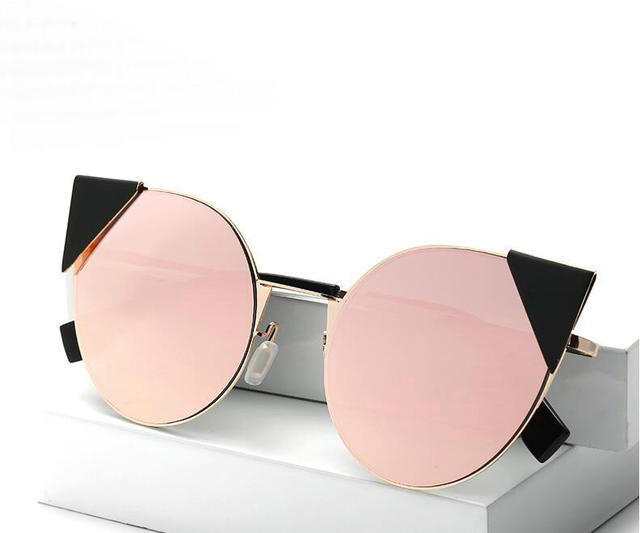 c3ec966133 2017 New Cat Eye Aviation Sunglasses Women Vintage Fashion Metal Frame  Mirror Sun Glasses Unique Flat Ladies Sunglasses UV400