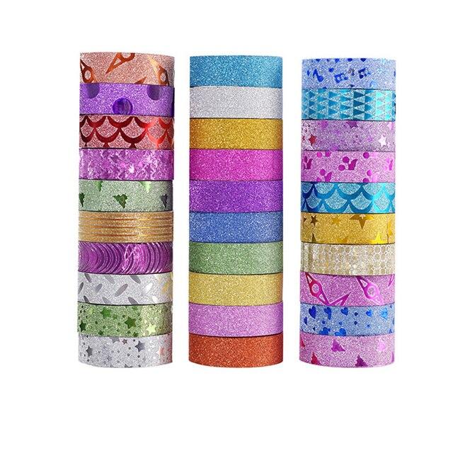 Cinta adhesiva decorativa para Scrapbooking de papel Washi con brillo de 10 piezas cinta adhesiva de Color DIY material escolar Papeleria