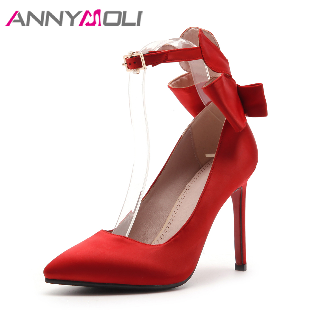 ANNYMOLI Ankle Strap High Heels Shoes Women Pumps Bow Pointed Toe Party Shoes Stiletto 2018 Fashion Shoes Red Plus Size 33-43 10 wholesale lttl new spring summer high heels shoes stiletto heel flock pointed toe sandals fashion ankle straps women party shoes