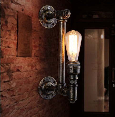 Loft Style Industrial Vintage Wall Light Fixtures Metal Water Pipe Lamp Edison Wall Sconce Indoor Lighting Lampara Pared loft style iron edison wall sconce industrial lamp wheels vintage wall light fixtures antique indoor lighting lampara pared