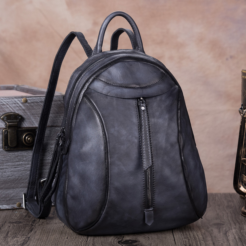 New Retro Leather Bag Ladies Handmade Leather Bag First Layer Cow Leather Backpack Female Shoulder Bag