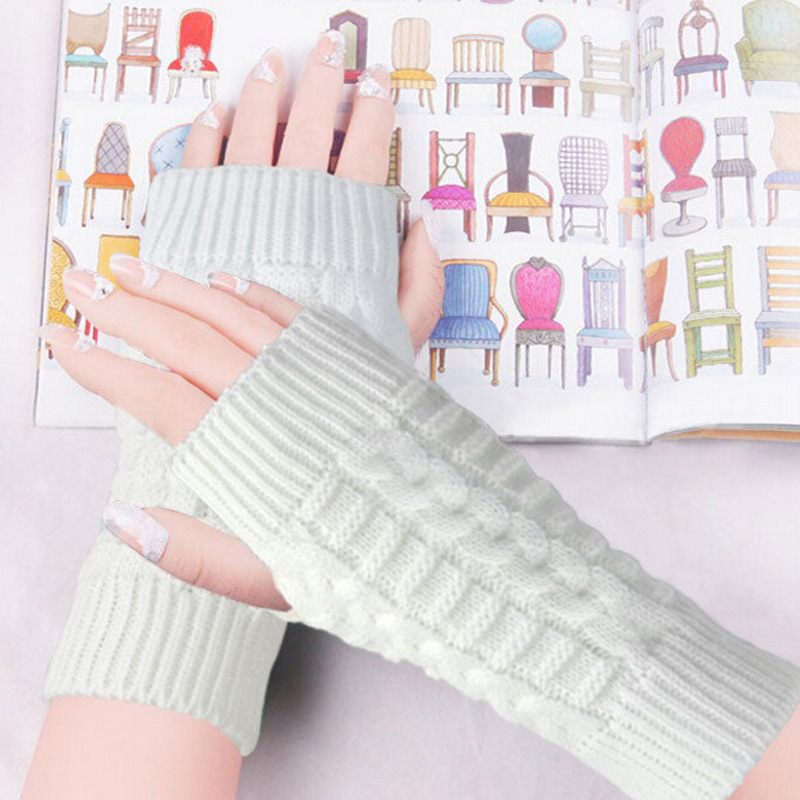 Mujeres invierno brazo de mano de ganchillo Guantes mitones cálidos ...