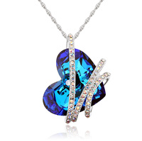 Forever Love Heart Romantic Crystals from Swarovski Pendant Necklaces for Women Valentine's Day Best Friends Gifts 4 Colors