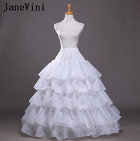 JaneVini Ball Gown Petticoat 4 Hoop 5 Layers Plus Size Crinoline White Black Sip Bridal Petticoats Underskirt For Wedding Dress