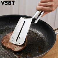 Stainless Steel Food Tong Shovel Spatula Multipurpose Bread Meat Vegetable Clamp BBQ Clip Home Camping Cooking