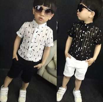 Summer Kids Baby Clothing Set Boys Suit Cotton Short Sleeve Shirt+Shorts Pants 2pcs Fashion 3-10Y