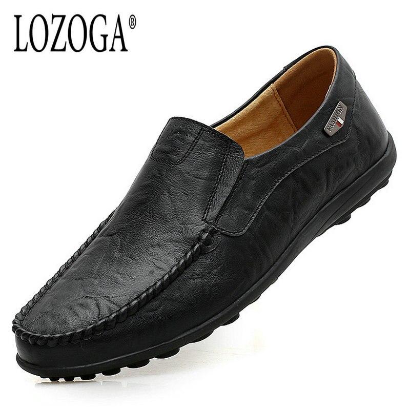 LOZOGA Big Size Men Genuine Leather Shoes Fashion Casual Men Shoes Male Flats Shoes Slip On Leather Mens Loafers 2018 Moccasins npezkgc new arrival casual mens shoes suede leather men loafers moccasins fashion low slip on men flats shoes oxfords shoes