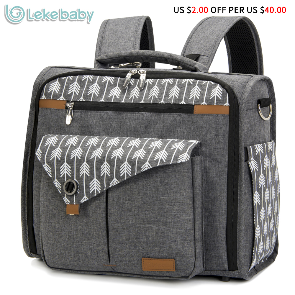 Lekebaby Convertible Diaper Bag Backpack for Mom Can Be Used as Tote Diaper Bag and Messenger