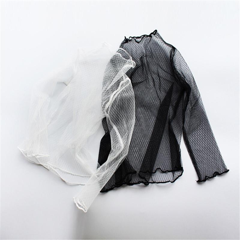 Женские кружевные сетчатые клетчатые блузки, прозрачная нижняя рубашка, женская рубашка, сексуальная Прозрачная черная блузка с длинными рукавами внутри|Блузки| | АлиЭкспресс