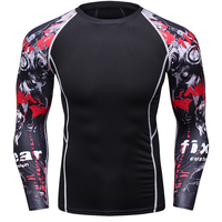 Mens MMA Fitness T Shirts Fashion 3D Teen Wolf Long Sleeve Palace Compression Shirt Bodybuilding Crossfit