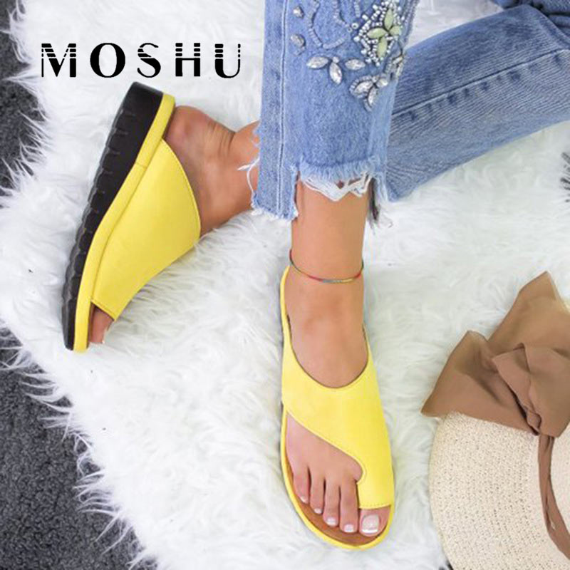 Summer Platform Sandals Women Sexy Leopard Flip Flops Beach Slippers Slides Sandalias Mujer 2019 Orthopedic Bunion Corrector big toe sandal
