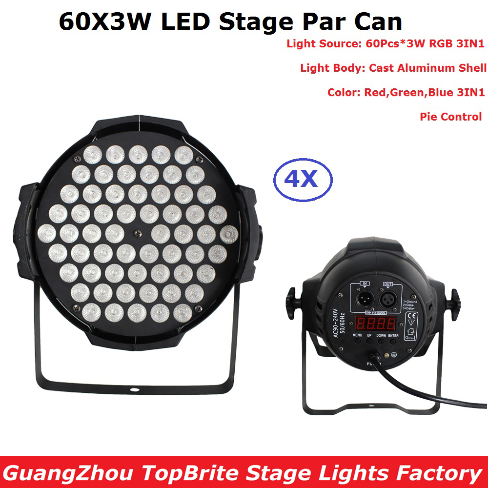 4Pcs/Lot Super Bright LED Par Light 60X3W RGB Full Color LED Stage Par Lights AC90-220V For Wedding Concert Parties DJ KTV lot 2 90 lot 3 60 g700 sop28