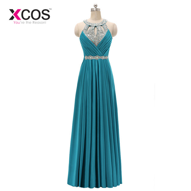XCOS Sexy Long Evening Dress Halter Evening Gowns Sleeveless Elegant Prom Party Formal Dresses 2018 Vestido de Festa