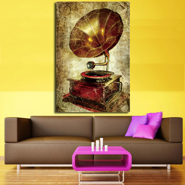 2017 Vintage painting Antique Phonograph Retro crafts metal wall art ...