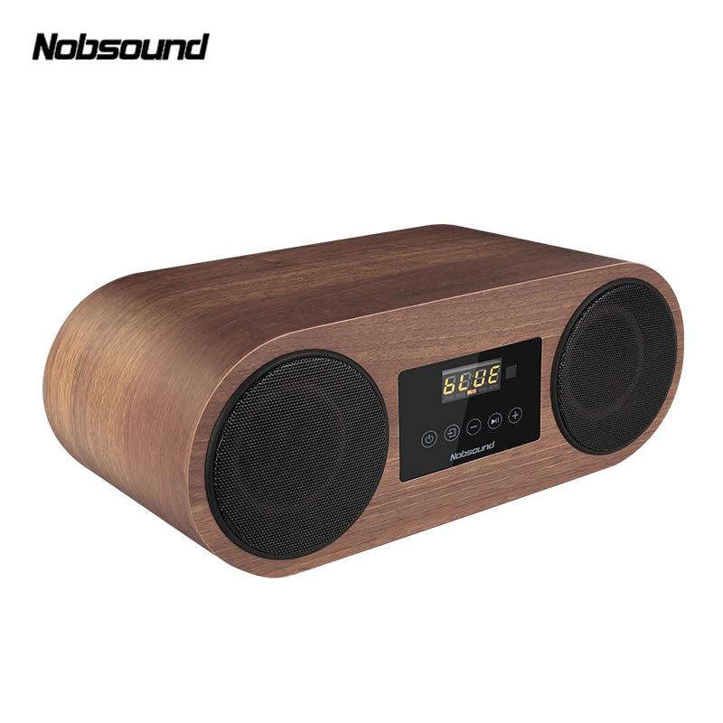 Nobsound BL-3 HIFI Full-Range Retro Wood Wireless Portable Bluetooth speaker radio FM 18W*2 3D Dual Loudspeaker