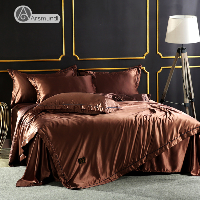 Arsmundi Luxury Coffee Color Bedding Set 100% Silk Home