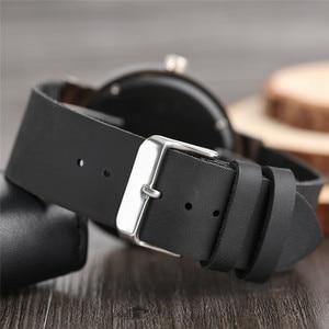 Image 4 - 腕時計黒檀木製腕時計メンズヴィンテージクォーツ手作りウッドクロック付き本革ストラップ腕時計ギフトリロイデ·マデラ