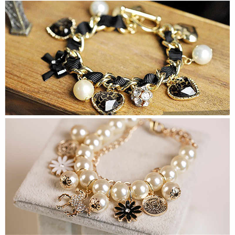 Fashion hand pony petal mix pearl multilayer bracelet with crystal bow leopard peach heart pearl bracelet
