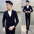 (Chaqueta + Chaleco + Pantalón) Trajes de hombre 2016 Nuevo Más El Tamaño de Trajes de Boda para Los Hombres de Lujo de Negocios Slim Fit Hombres Traje Vestido Azul Marino M-5XL