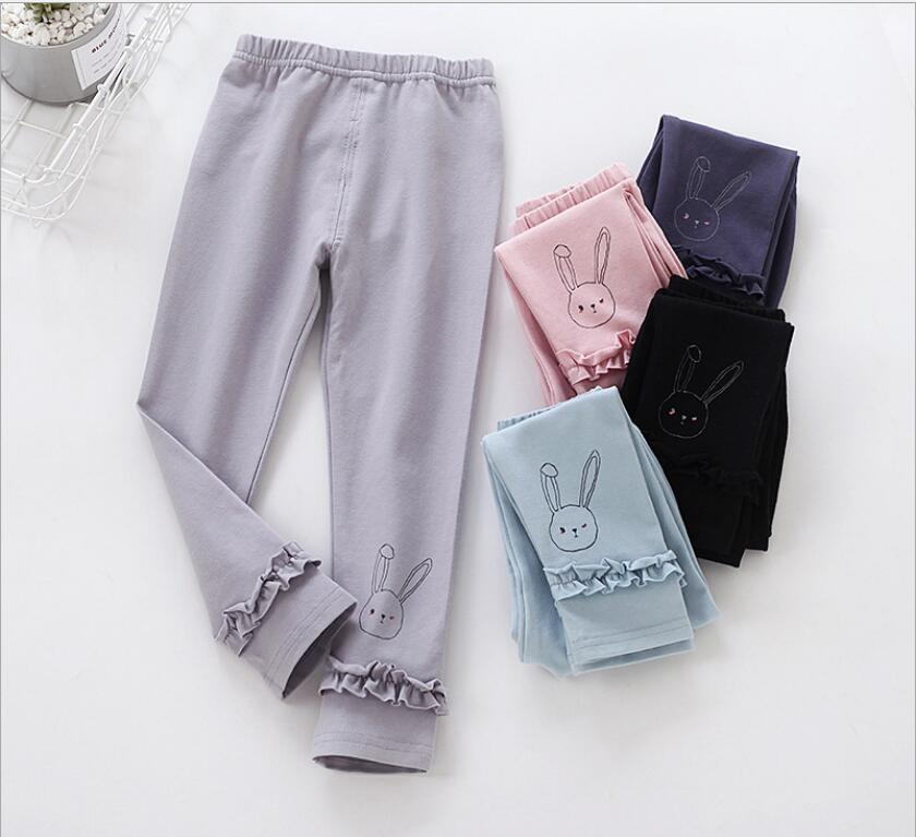 Girls Leggings Baby Girl Pants Spring autumn children s clothing Cuffed bow Cotton trousers Ruffles pant