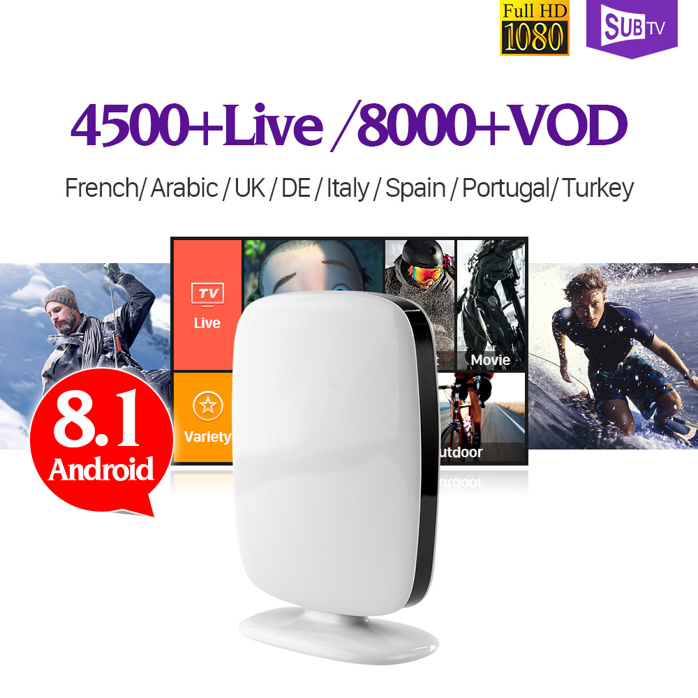 Arabic French TV Box Android 8.1 Smart TV Box SUBTV Turkish Germany Europe TV Box RK3229 1GB 8GB Quad Core IPTV Subscription Box latest quad core smart android tv box 1g 8g with 1year free 700 iptv channels europe arabic french italy sky canal iptv tv box
