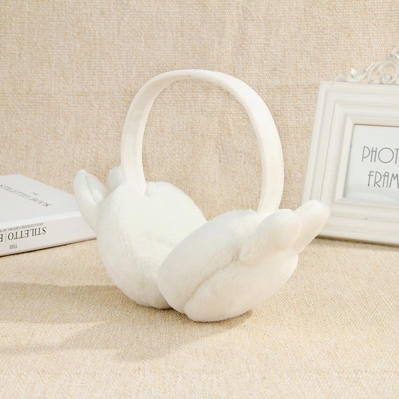 Elegant Rabbit Ear Winter Earmuffs For Women Warm Earmuffs Ear Warmers Gifts For Girls Cover Ears Fashion TKE005-white