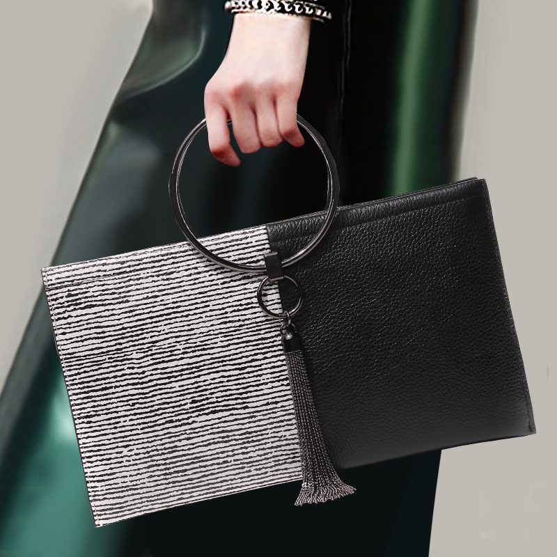 2018 New Style Fashion Women Clutch Wallet Genuine Leather Zipper Large Capacity Purse Lady Banquet Shoulder Bags Crossbody Bag