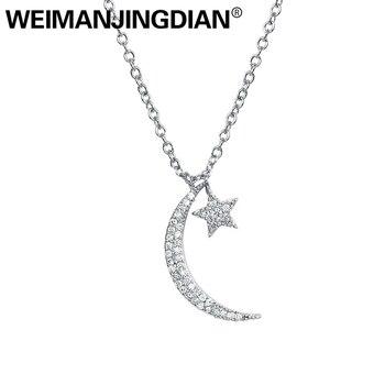 Brazaletes para damas marca WEIMANJINGDIAN recién llegado Zirconia cúbica CZ luna y estrella colgante collar para mujeres