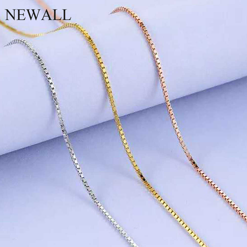 Newall 1.2mm 1.5mm Stainless Steel Gold Box Chain Necklace 47CM+4cm extend chain Customizes Men Women's Jewelry wholesale