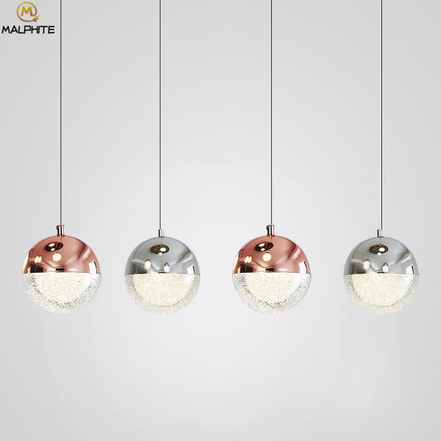Post Modern Crystal Pendant Lights Nordic Bar Cafe Bubble Ball Lamps Rose Gold Dining Room