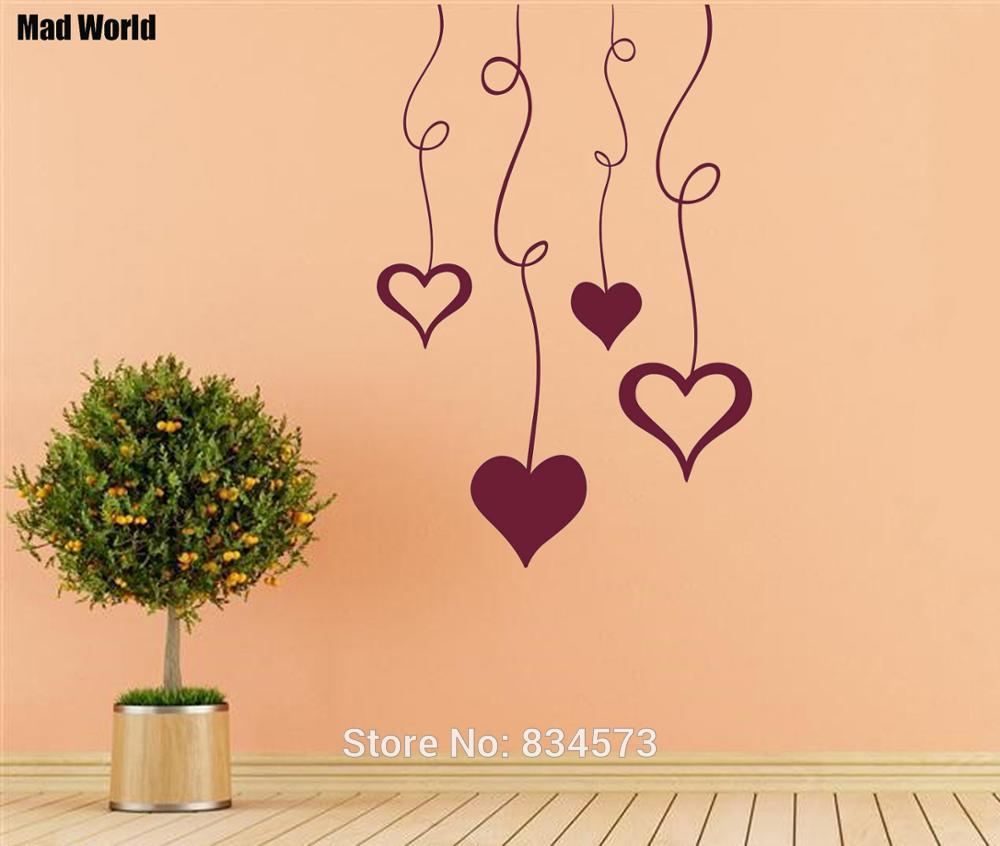 Mad World Pattern Love Hearts Wall Art Stickers Wall Decal Home DIY ...