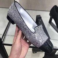 Популярные брендовые Разноцветные Женские туфли лодочки из расшитой блестками ткани женская обувь Bling Для женщин Туфли под платье слипоны