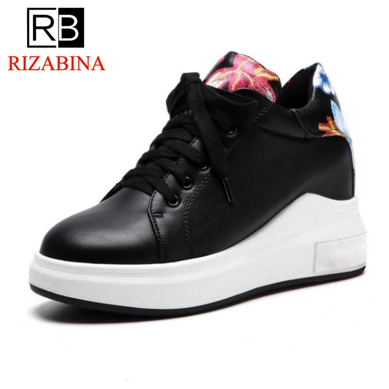 RizaBina Size 31-43 Women Flats Wedges Lace Up Round Toe Print Shoes Woman Fahsion Casual White Sneakers Holidays Footwear