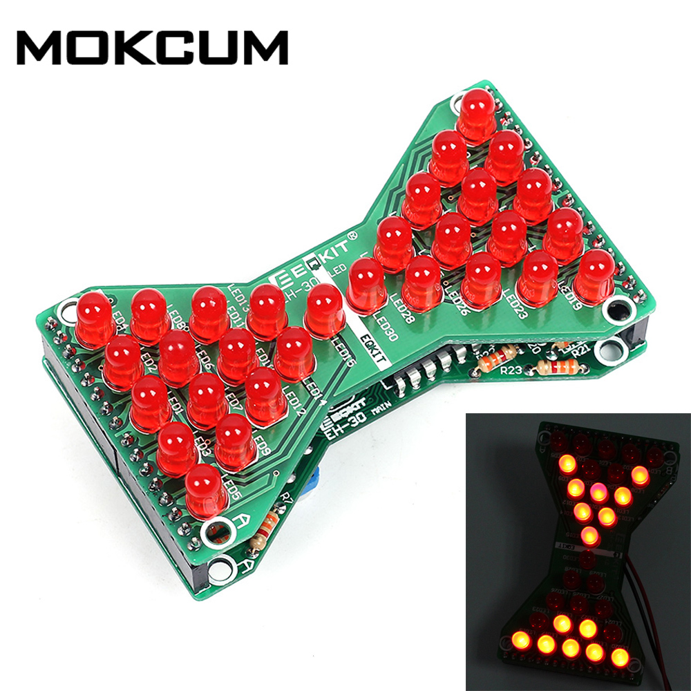 DC 5V Speed Adjustable Funny Electronic DIY LED Light Double Layer PCB Board Blue Red Green LED Electronic Hourglass DIY Kit