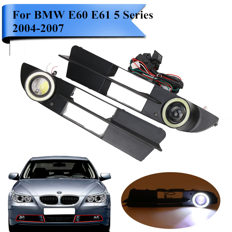 Car Bumper Grill Kit with LED Fog Lights DRL Angel Eyes Wires for BMW E60 E61 5 Series 525i 530i 545i 550i /xi 2004-2007 #PDK618 2x led fog lights angel eyes lamp front bumper grille grill cover foglight kit for vw golf mk4 98 04