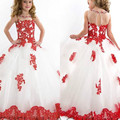 Ball Gown Girl Pageant Dresses 2016 White and Red Lace Appliques Party Dress Flower Girl dress