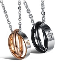JEWELRY Hot Selling 316L stainless steel Double Circle love's pendant necklace for couple, New Arrival Style 828