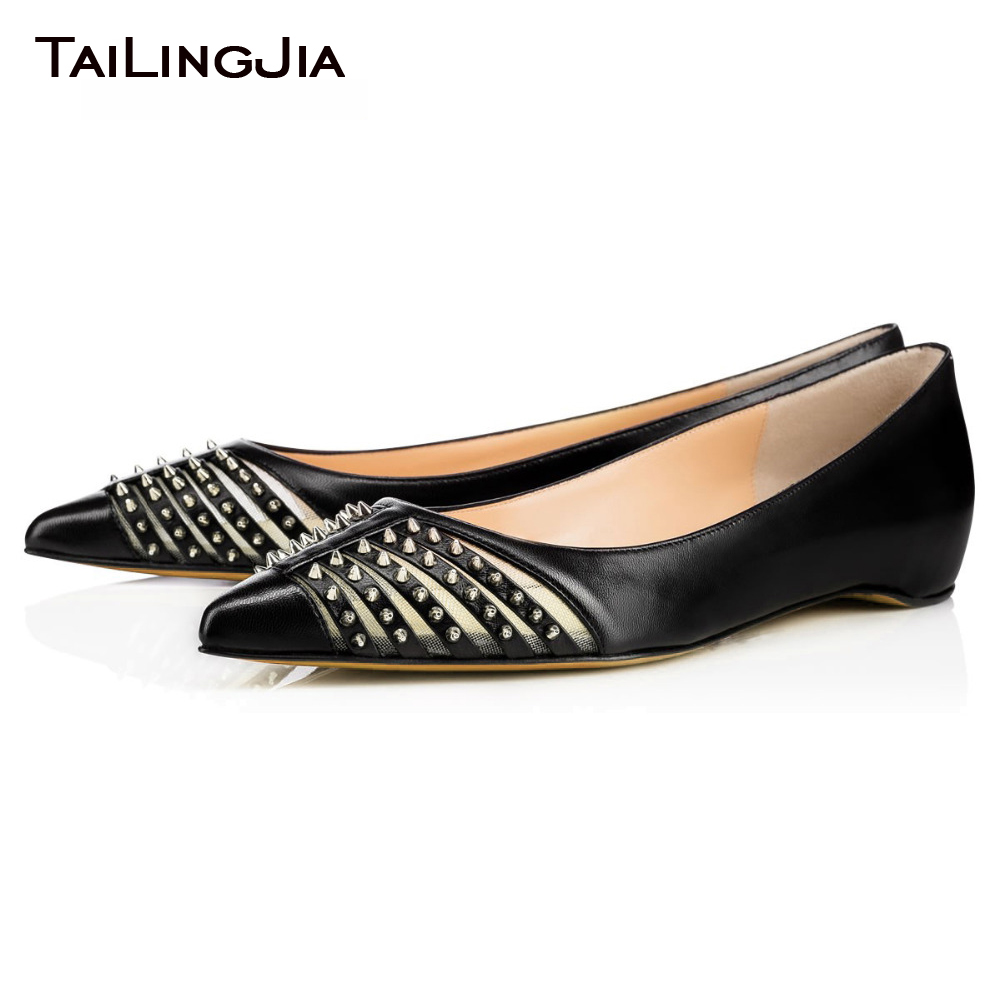 ФОТО 2017 New Flats Rivets Shoes For Woman Pointed Ballet Flats Plus Size High Quality Comfortable