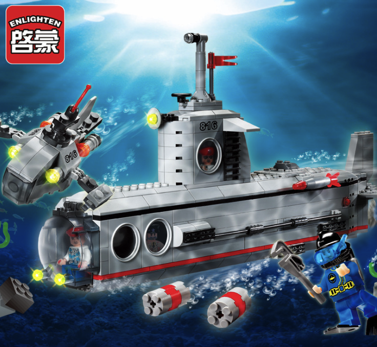 382pcs Building Blocks Military Series Submarine Toy Children Birthday Present Intelligence Creative Plaything apollo ru bun lock children puzzle toy building blocks