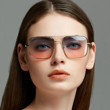 2a1365acbed Cubojue Vintage Gold Sunglasses Gradient Women Men Transparent Sun Glasses  for Woman Oversized Flat Top Lens Punk 80s 90s Hinge