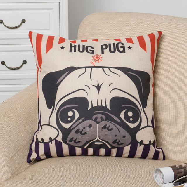 18 ''Nordic stile Animale Federa Pittura Francese Bulldog e Pug Cuscino Cuscini Decorativi Home Decor Cuscino di Tiro