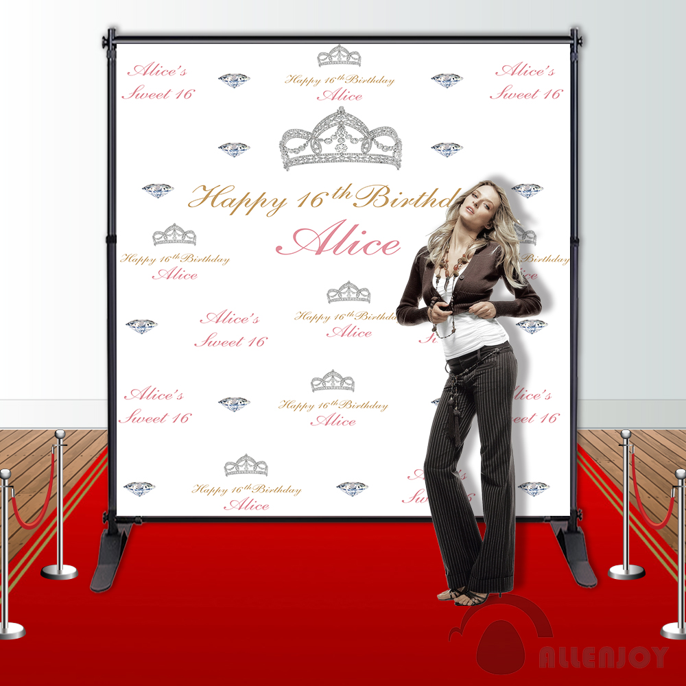 Allenjoy Photography backdrops silver crown step and repeat birthday Background customize photocall professional the silver crown