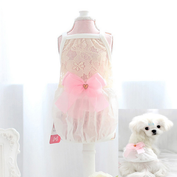 Prinses Hond Jurk En Vest Kant Bowtie Hond Kleding Hot Koop Pet Lente Zomer Kleding Voor Kleine Hond Huisdier Kleding XS-XL