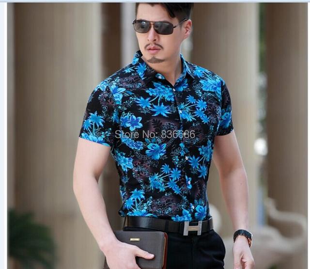 2015 Última moda los hombres ocasionales del verano flores hawaiano camisa de algodón de manga corta