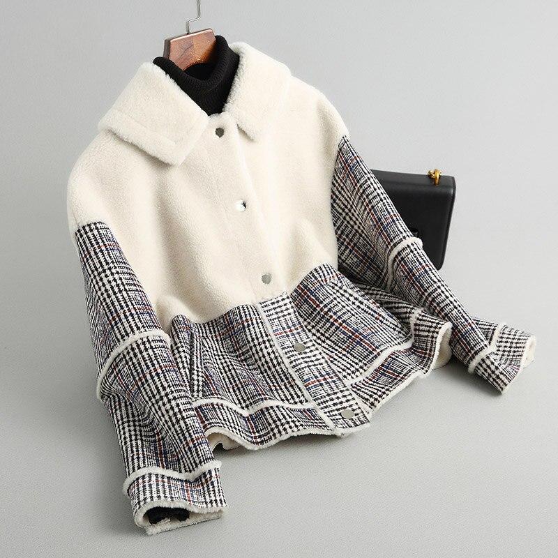 Angleterre Fourrure Réel Automne Hiver Laine Femmes Outwear Mode Composite Manteau Épais Vestes Ayunsue Plaid Manteaux 18007 2018 De Yq1761 qwx0BpE