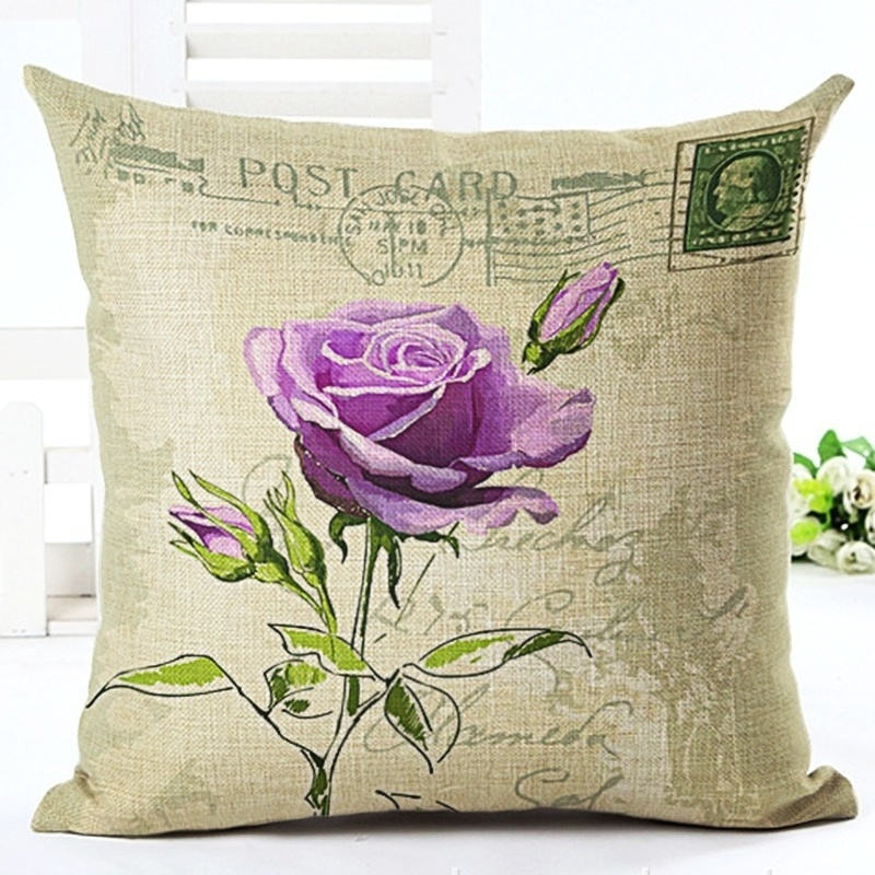 Power Source Maiyubo Vintage Flower Cushion Cover Cotton Linen Decorative Pillowcase Chair Seat Square Pillow Cover Home Living Textile Pc442