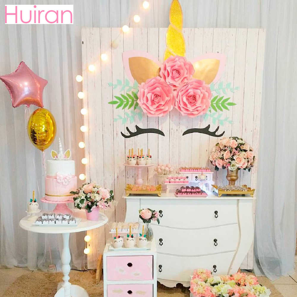 Detail Feedback Questions About HUIRAN Unicorn Stickers Wall Giant Paper Flowers Party Decor Birthday Horn Baby Shower Supplies