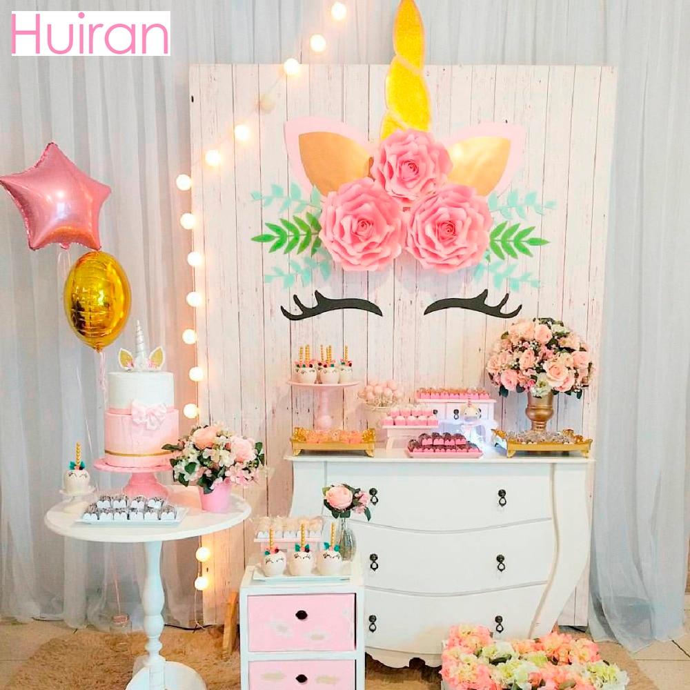 Party Decorations Halloween: HUIRAN Unicorn Stickers Wall Giant Paper Flowers Unicorn