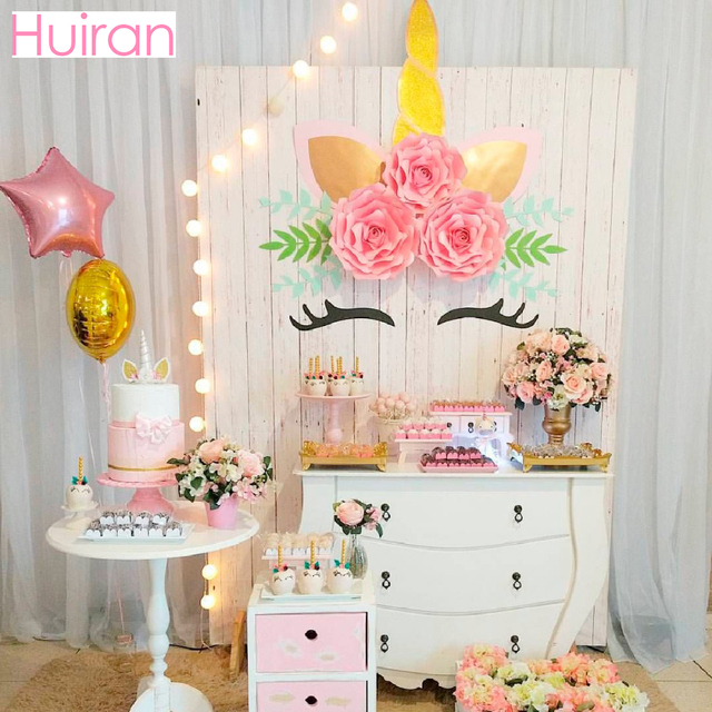 HUIRAN Unicorn Stickers Wall Giant Paper Flowers Party Decor Birthday Horn Baby Shower Supplies