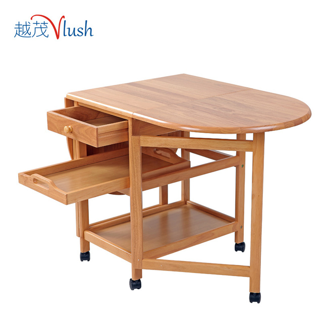 The More Luxuriant Pastoral Wooden Folding Table Folding Movable Table  Small Apartment Accommodating Tables Telescopic Table